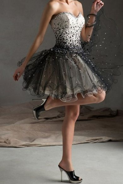 Short Strapless Black and White Prom Dress