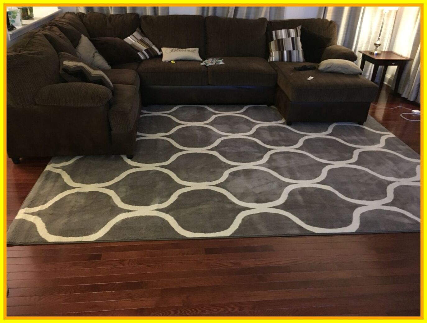 55 Reference Of Brown Leather Couch With Grey Area Rug In