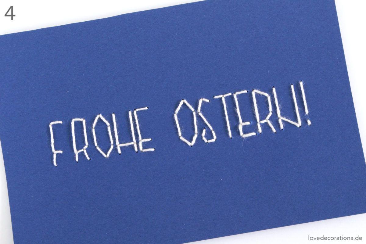 diy osterkarte sticken  diy ostern osterkarten karten