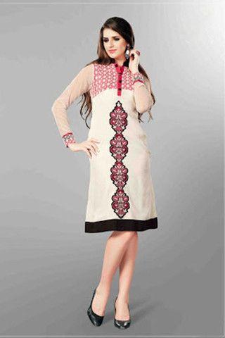 Attractive White Colour Embroidery Designer Kurti