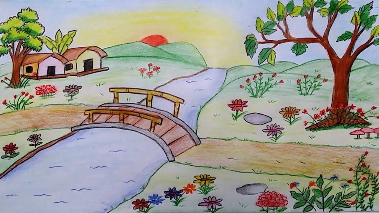How To Draw Scenery Of A Flower Garden Step By Step Youtube Art Drawings For Kids Basic Drawing For Kids Oil Pastel Drawings