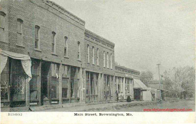 Brownington Missouri Main Street Vintage Postcard
