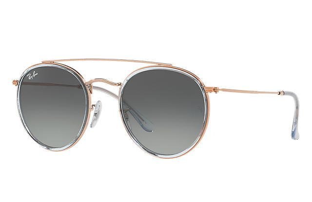 4648824af6acd Ray-Ban 0RB3647N-ROUND DOUBLE BRIDGE Light Blue  Bronze-Copper SUN ...