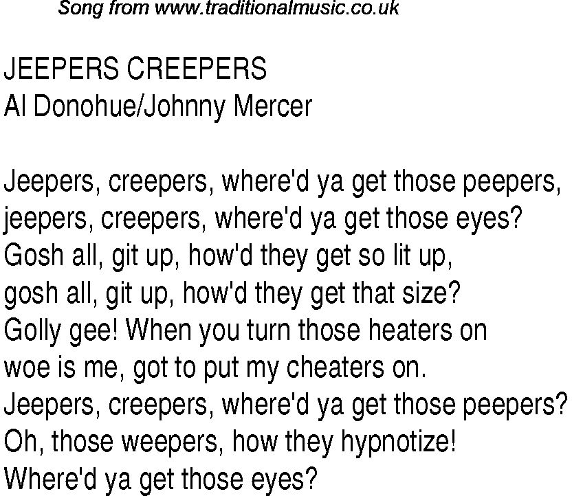 Jeepers Creepers Jeepers Creepers Nursery Rhymes Lyrics Songs