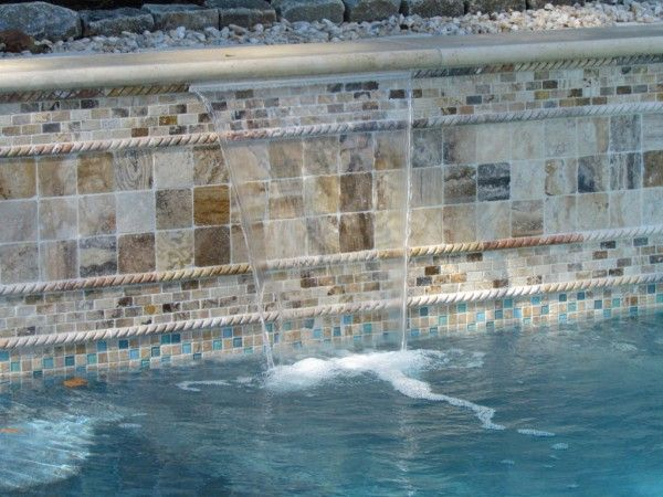 Pool Waterline Tile Ideas stupefying waterline pool tiles decorating ideas gallery in spaces mediterranean design ideas Splendid Glass Tile For Pool Waterline With Western Rope Border On Scabos Travertine Mosaic Tile