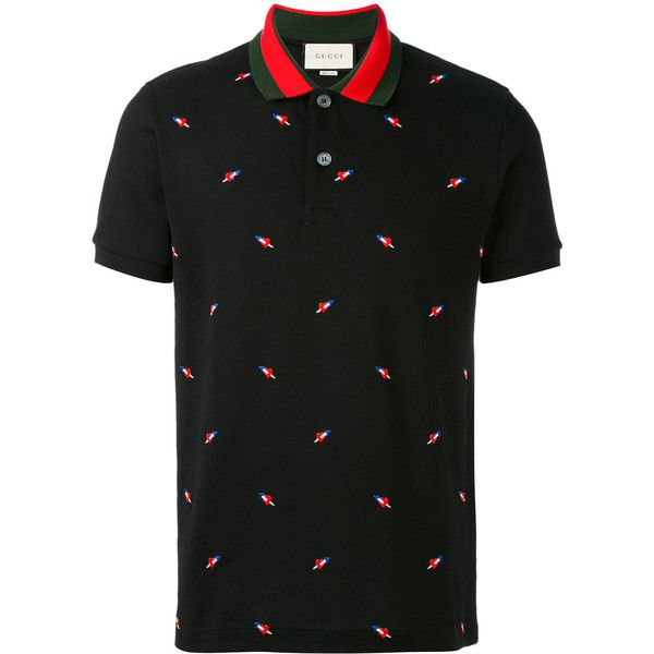 1f977509c Gucci heart dagger embroidered polo shirt ($1,750) ❤ liked on Polyvore  featuring men's fashion