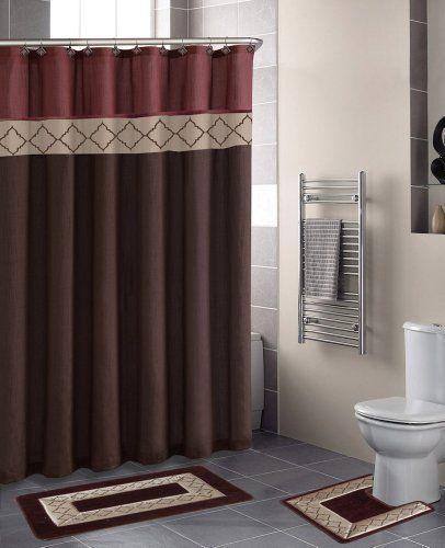 Dynasty Burgundy Diamond 15piece Bathroom Accessory Set 2 Bath Mats Shower Curtain 12 Fabric Covered Brown