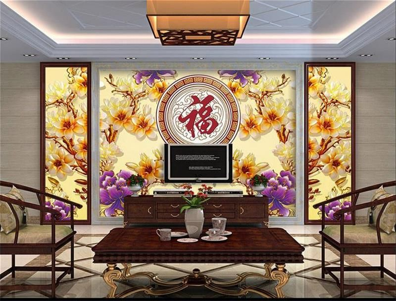 Custom mural wallpaper room 3d photo wallpaper orchid color carving 3d painting room sofa TV background wall non-woven wallpaper #Affiliate