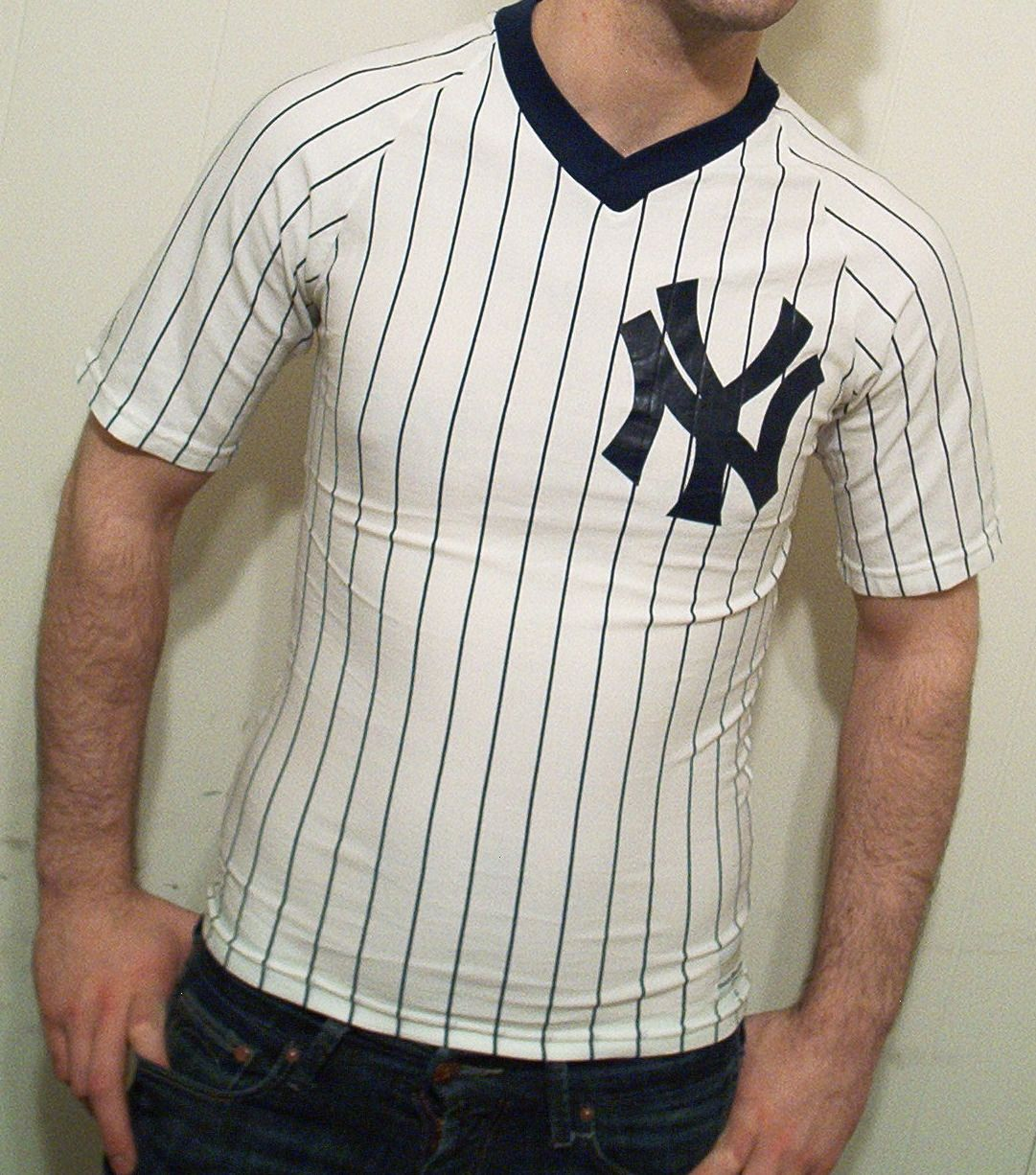 Vintage 70 s   80 s New York Yankees pinstriped v-neck home jersey t-shirt. 36adbad4dde