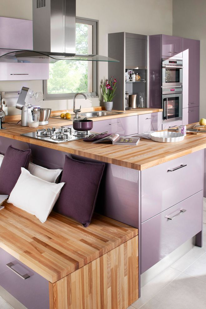 Un Large Choix De Coloris Kitchen Design Small Kitchen Decor Modern Purple Kitchen