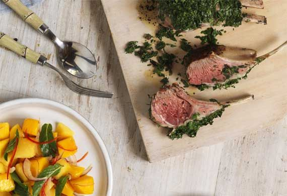 Pair smoky barbecued lamb with a juicy sweet and spicy mango salad, courtesy of Australian Mangoes