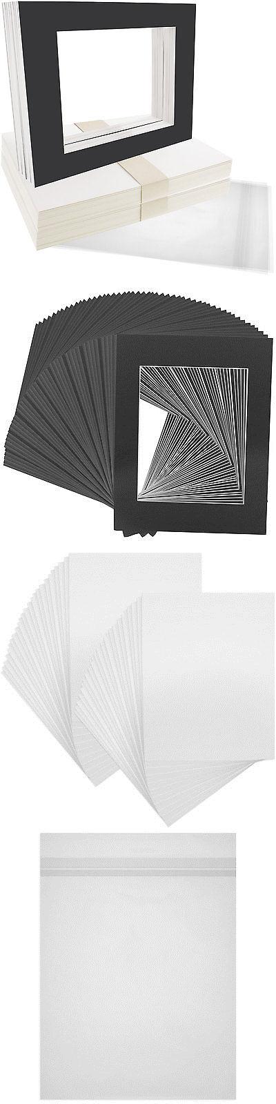 Framing Mats 37576: 50 11 X14 Matte Black Picture Mat Set White Core ...