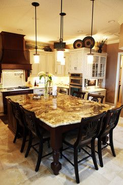 Love The Granite Colors The Cabinet Colors The Oven Hood Wood Look Gorgeous With Dark Wood Granite Dining Table Granite Kitchen Table Kitchen Island Table