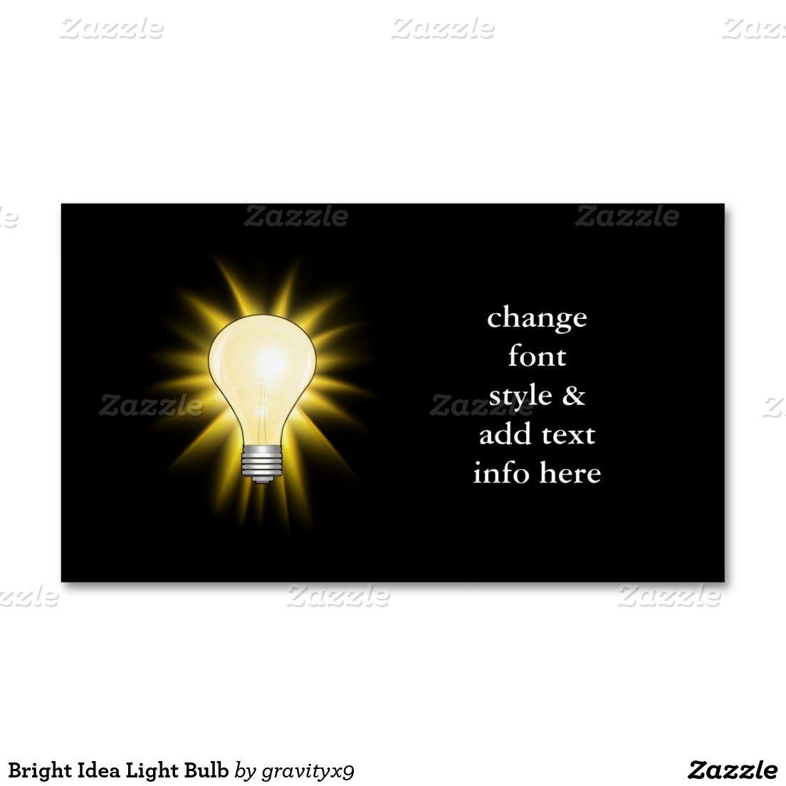 Bright Idea Light Bulb Business Card Magnet Light Bulb Bulbs And