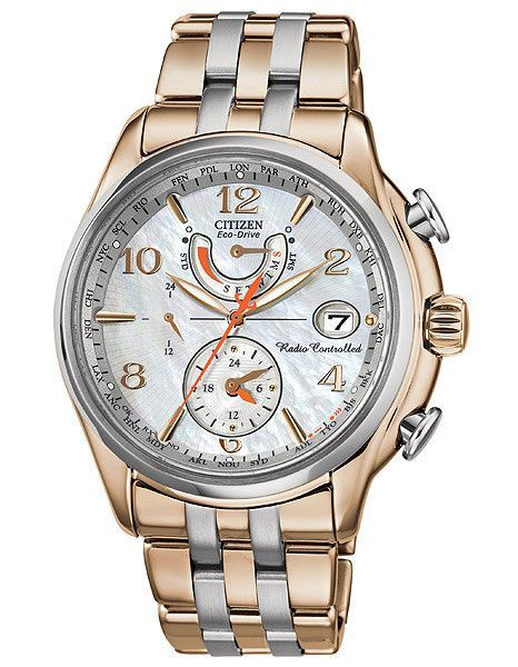 Citizen Eco Drive Ladies World Time At Mop Dial Rose Gold Tone Steel