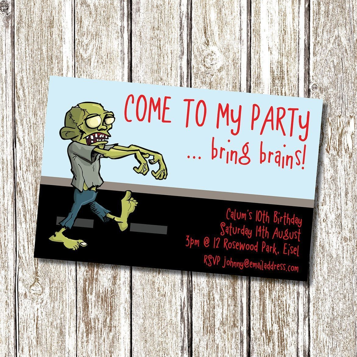 Zombie Birthday Party Invitation Template #zombieapocalypseparty
