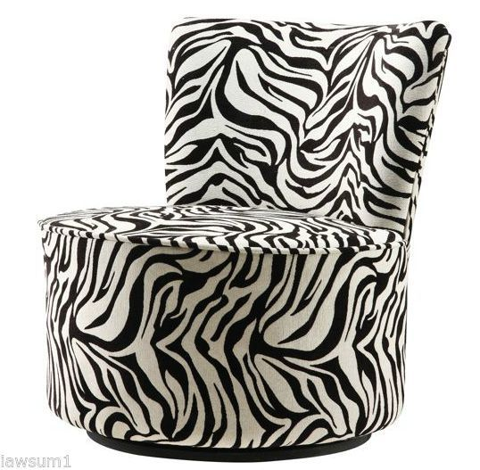 Best Zebra Accent Chair Round Swivel Animal Print Fabric 400 x 300