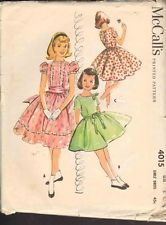 Vintage Mc Calls Pattern 4015 Girls Dress 1957 Sewing Pattern Full Skirted Dress