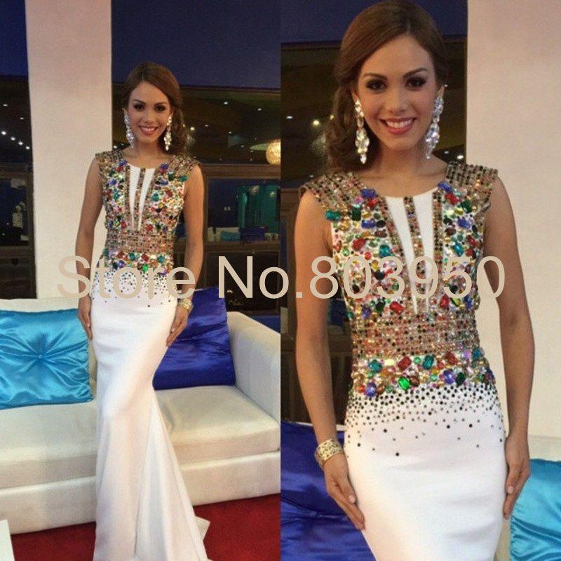 Luxury Evening Dress For Women Colorful Beaded Crystal Vestido De Festa Cap Sleeve Mermaid White Prom Dress Fashion Abendkleider