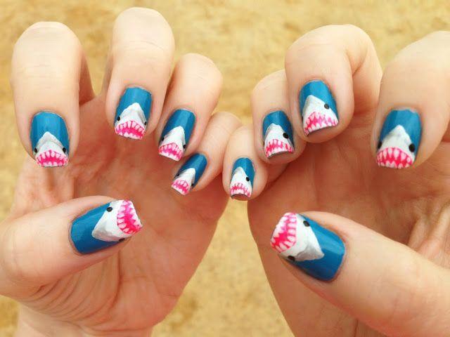 Shark Mouth Tuips Nail Art Oh my! 20 shark mani\'s to try! | Nail ...
