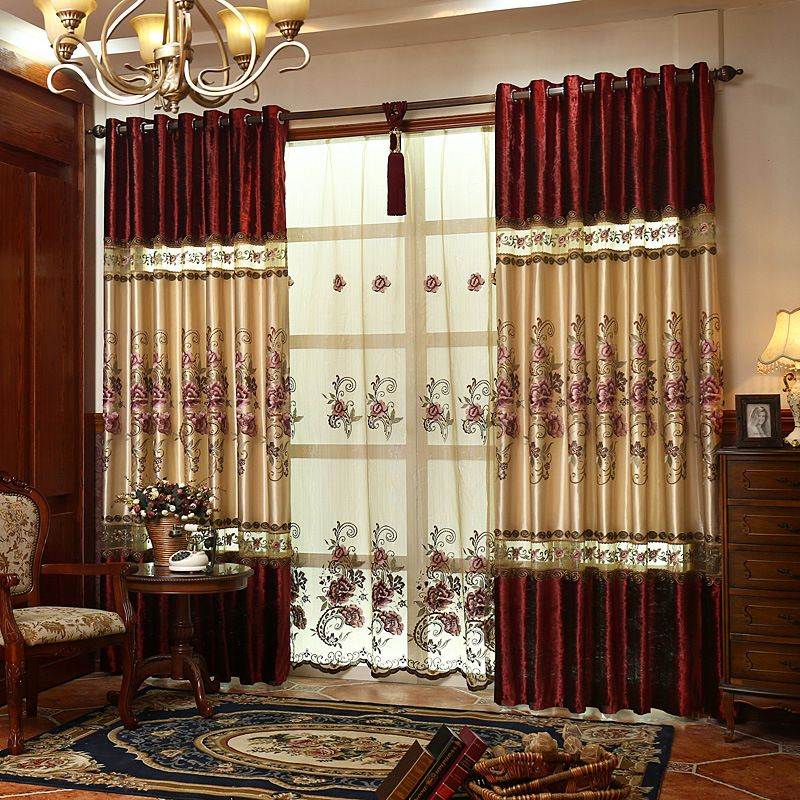 Chinese Style Classical Embroidered Window Curtain For living Room ...
