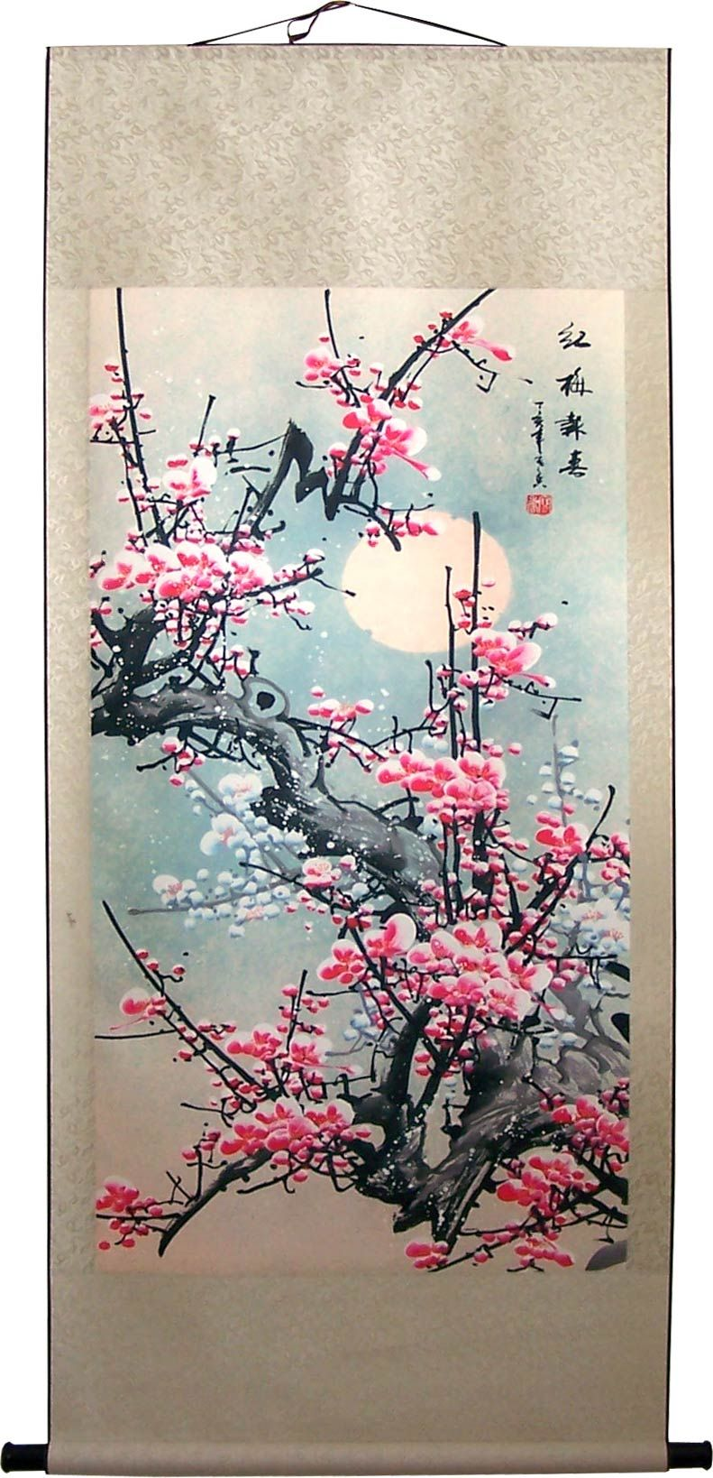 Chinese Print Scrolls Giant 63 Dream Sakura Chinese Print Scroll Cherry Blossom Wall Art Japanese Art Prints Japanese Wall Art