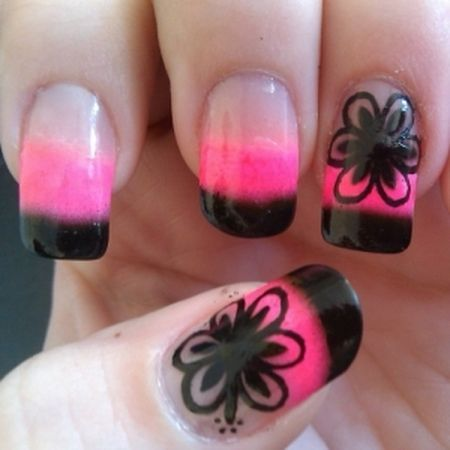 How to do nail designs simple black flower nail designs with how to do nail designs simple black flower nail designs with pink nail polish prinsesfo Choice Image