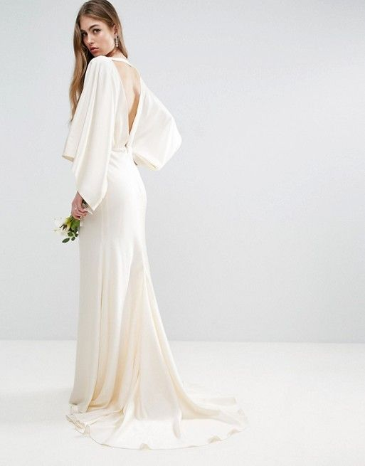 ASOS BRIDAL Kimono Plunge Back Maxi Dress $143.00 | Elopement ...