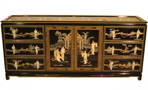 Six Foot Oriental Inlaid Black Lacquer Dresser Furnishings B Elegant 72 Inch Triple Hand Painted And With Mother Of