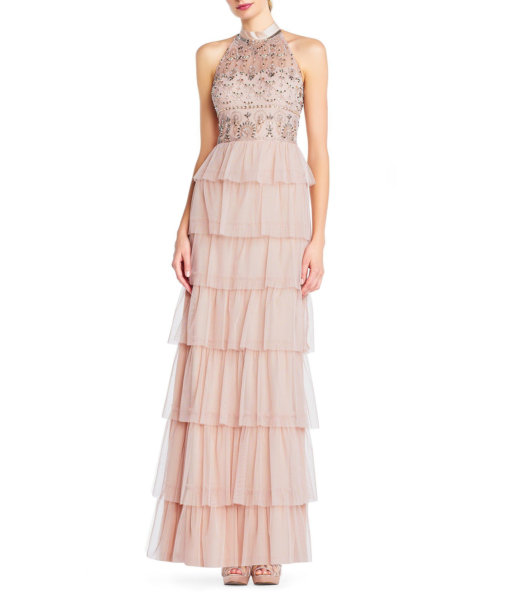 809fcdf2da2 Shop for Adrianna Papell Halter Beaded Tiered Tulle Ruffle Gown at  Dillards.com. Visit Dillards.com to find clothing