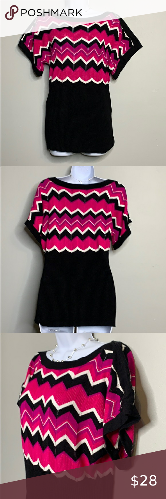 """Belldini Pink Black Chevron Cap Sleeve B3 0214 Belldini Pink Black White Chevron Knit Cap Sleeve Ribbed Sweater Pre owned. Good condition. No flaws. Flat Lay Measurements  19"""" long 16"""" chest 12"""" waist Belldini Sweaters Crew & Scoop Necks"""