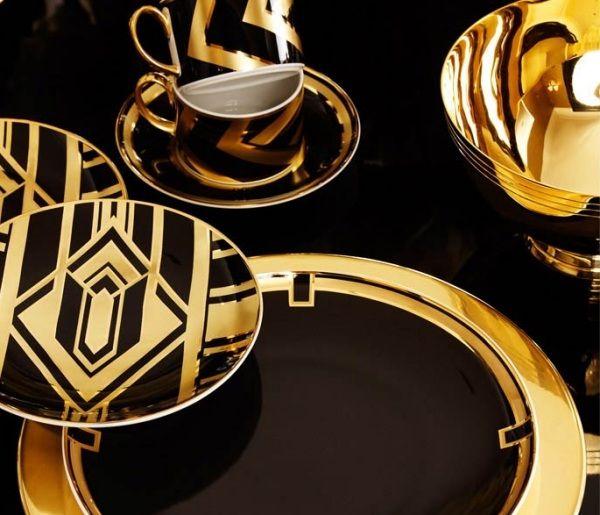 Ralph Lauren Home-Geschirr Design-Schwarz Gold Teetasse | FFE ...