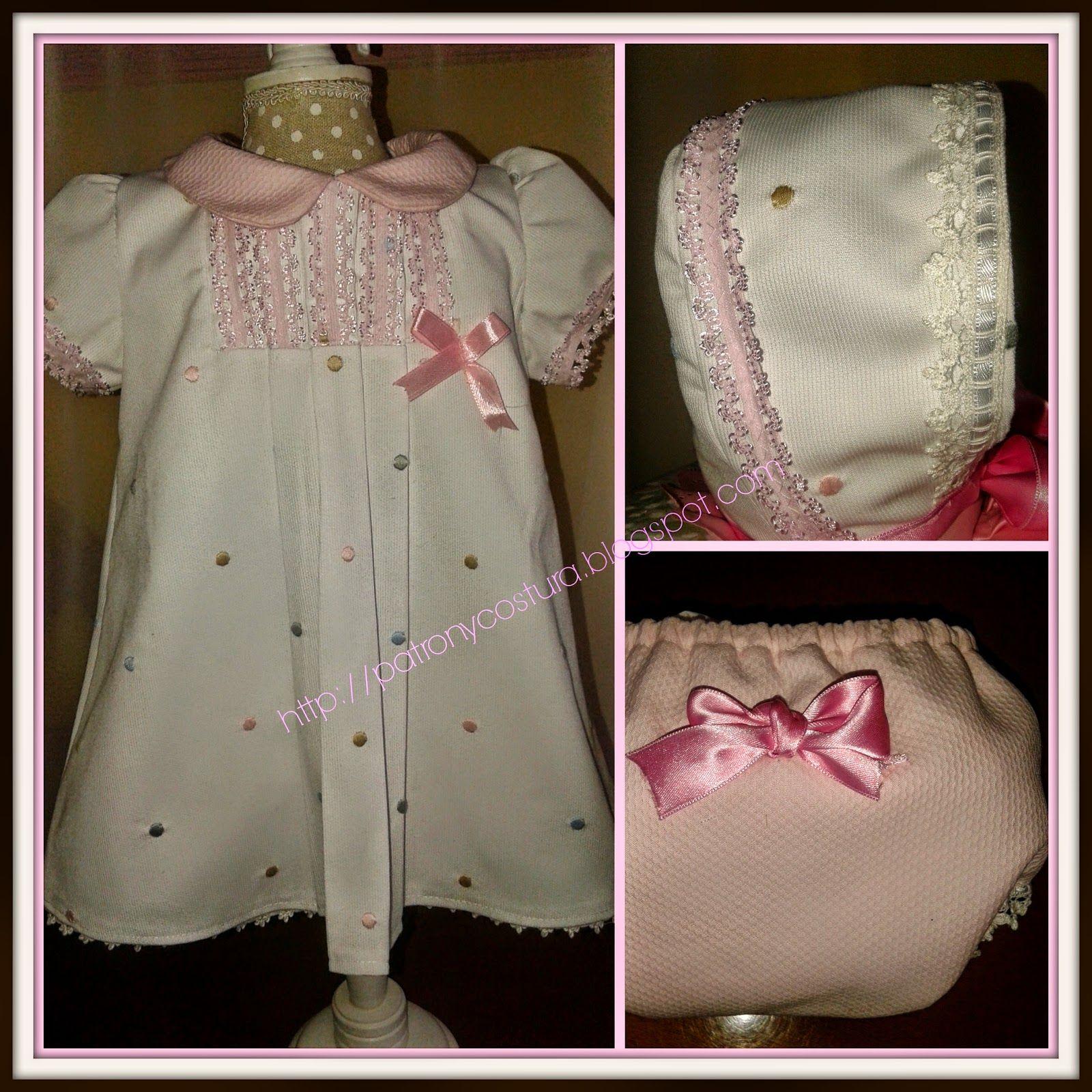 Patrón y costura : vestido niña con jaretas, cuello bebé y manga cort...