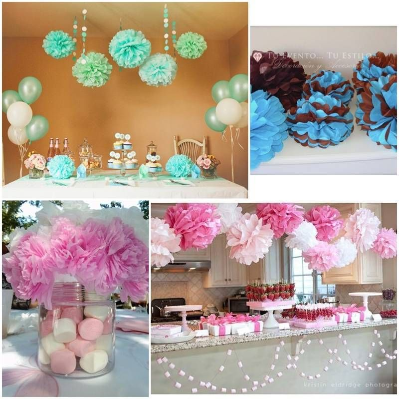 Decoracion con pompones de papel buscar con google c for Decoracion de baby shower nino