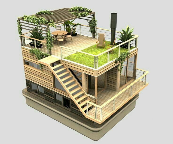 Hausboote, Hochbeet, Hausbau, Einrichten Und Wohnen, Zuhause, Moderne Häuser,  Kleine Häuser, Modernes Kleines Haus, Bootspläne