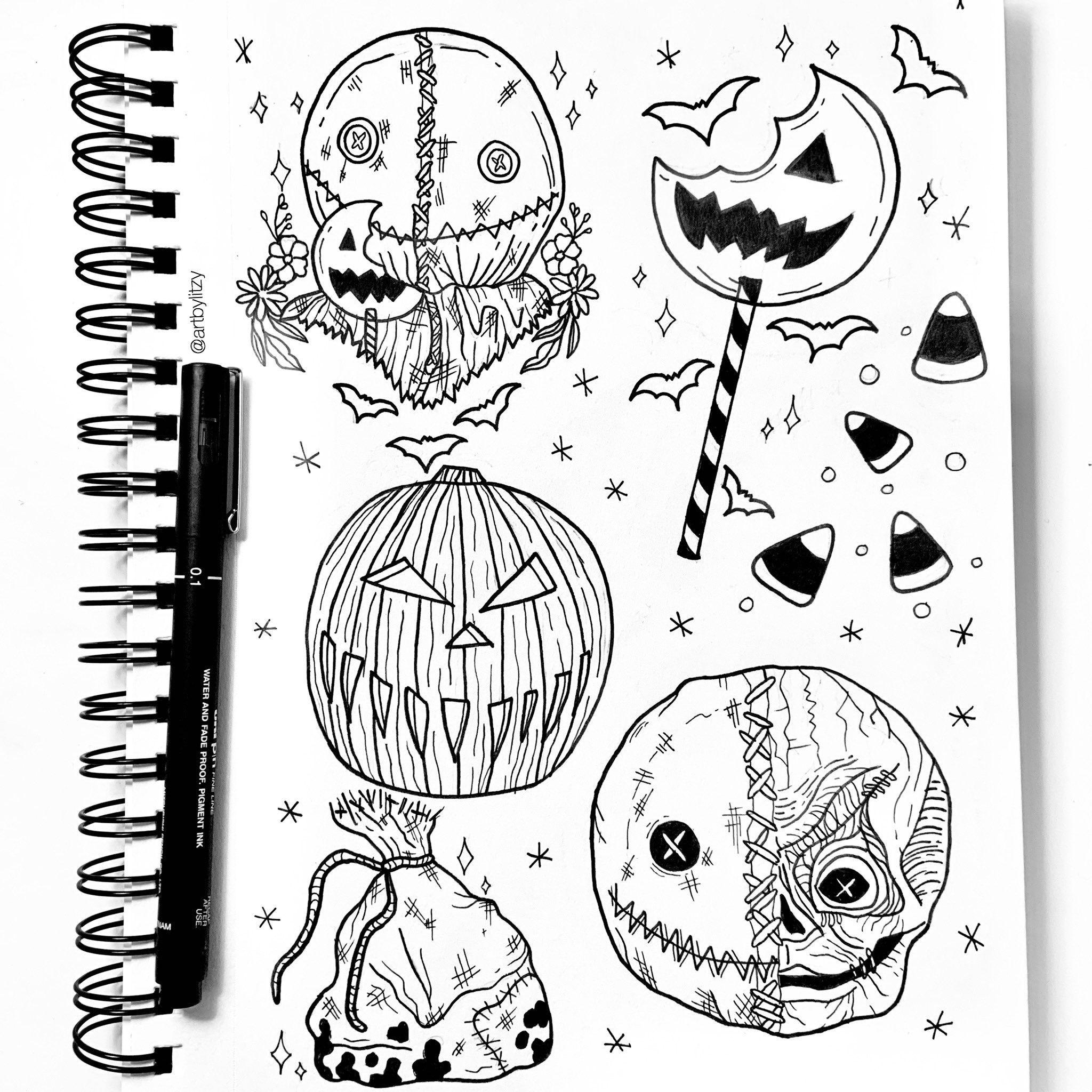 Trick R Treat Sam Tattoo Design Flash Sheet Artbylitzy Tattoo Flash Art Halloween Tattoos Sam Trick R Treat
