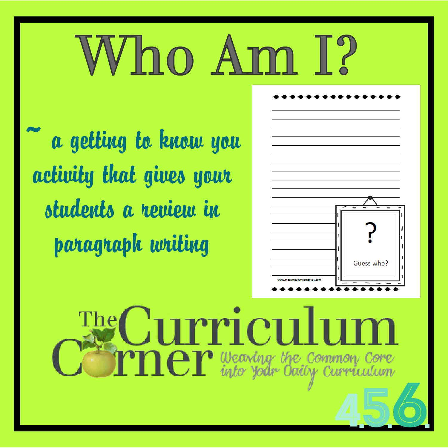 Who Am I Back To School Getting To Know You Activity And Paragraph Writing Review Great Idea