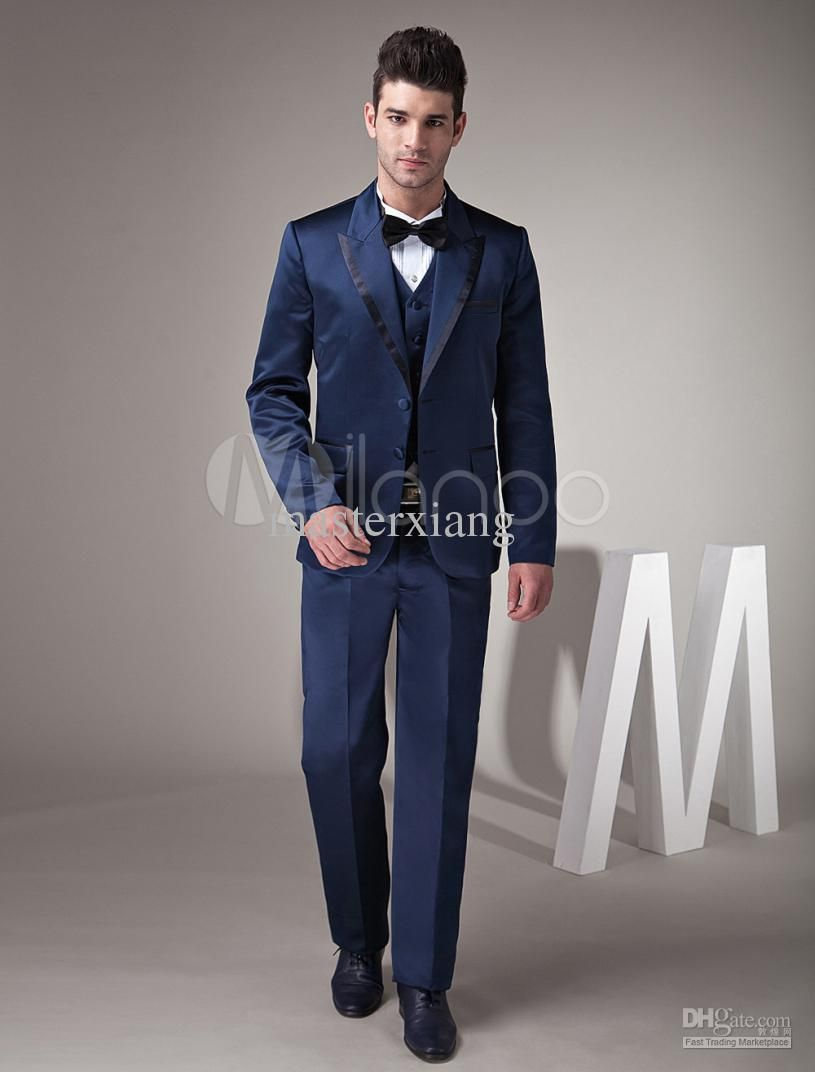 Navy Blue Suit Men Dress Yy