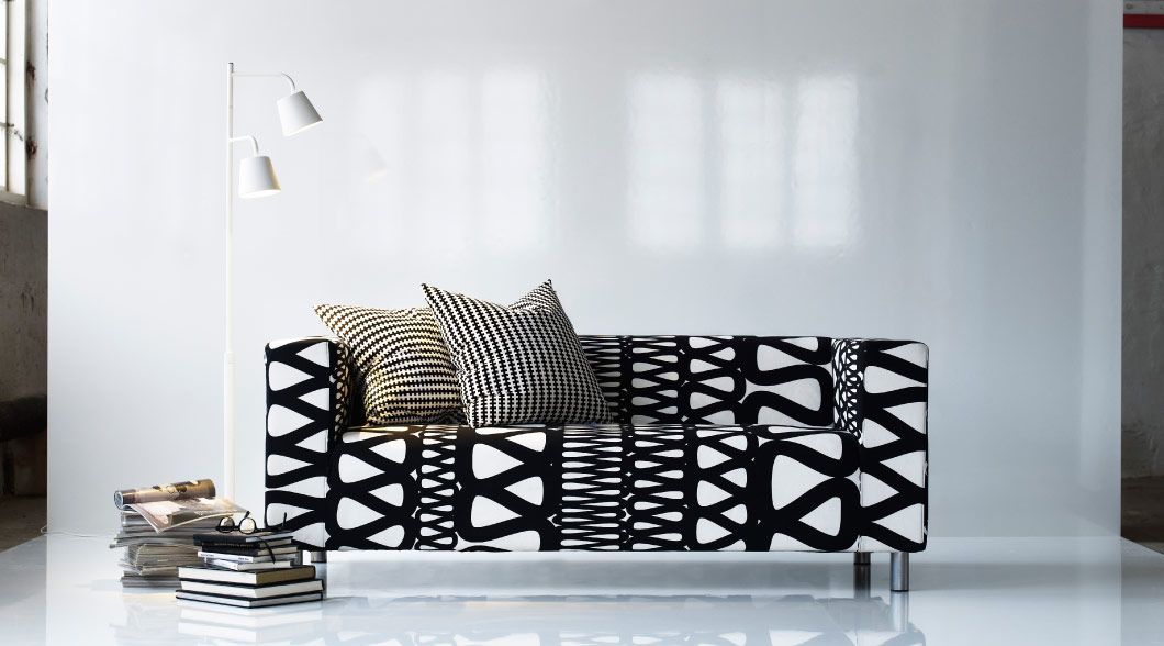 Klippan Sofa With Storlien Black White Cover Ikea Klippan Sofa Sofa Covers Ikea Armchair