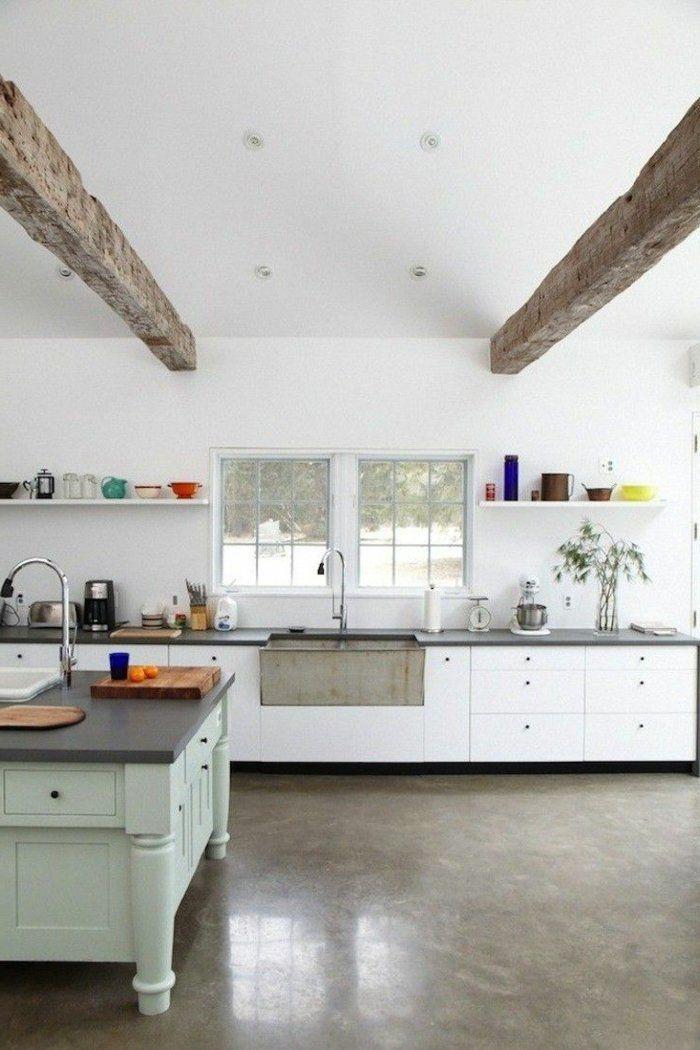 1 Vaste Cuisine Avec Leroy Merlin Beton Cire Beige Et Plafond Sous