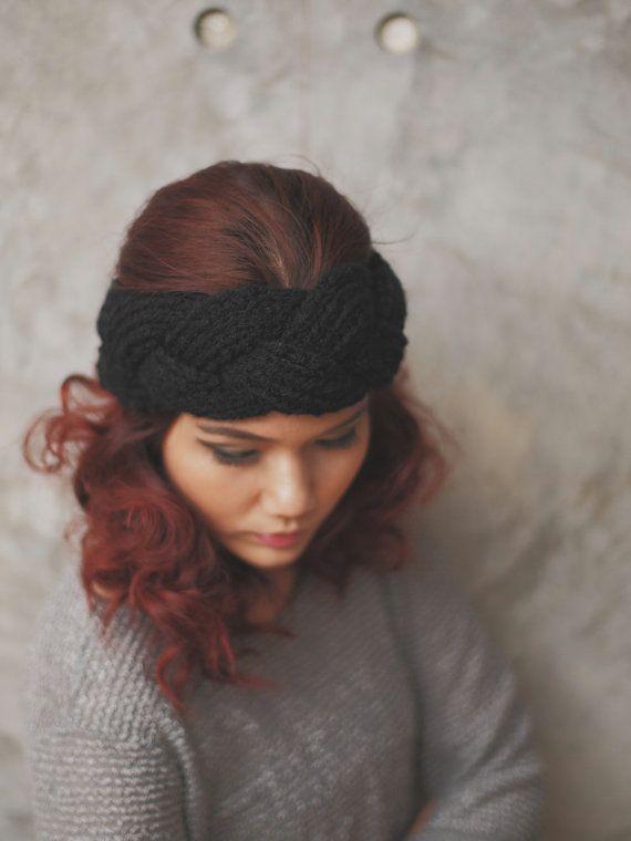 NEW : Braided - Black, Knit Headband, Head Warmer, Ear Warmer, KB-H-13001 $29.95