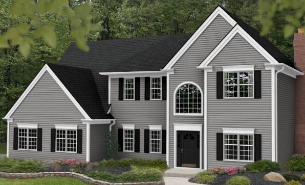 Grey exterior house colors cape cod gray home improvements pinterest grey exterior - Dark grey exterior house paint concept ...