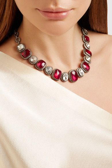 Amrapali | Silver, ruby and diamond necklace | NET-A-PORTER.COM