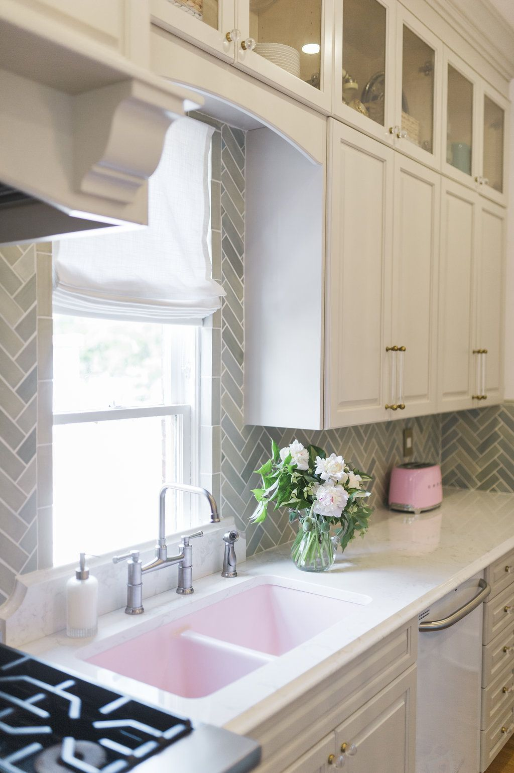 Window under kitchen cabinets  how to run kitchen cabinets across a low window  client showcase
