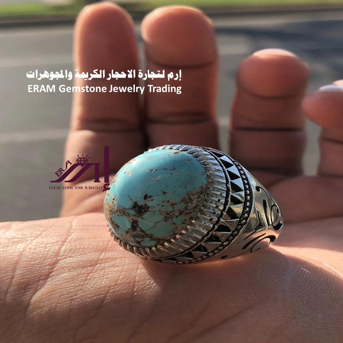ما تفكر فيه نحن نقدمه اليك خاتم ملكي فيروز نيشابوري طبيعي100 Turquoise للعرض Gemstones Gemstone Jewelry Gemstone Rings