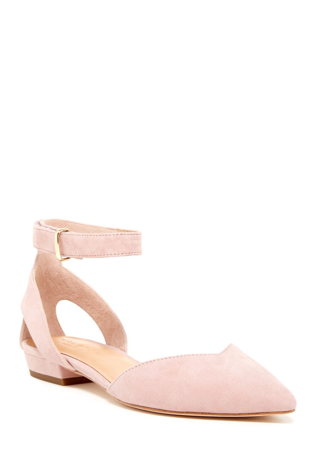 cd29c608933 So sweet! Blush pink Halston Heritage Jacqueline Ankle Strap Flats ...