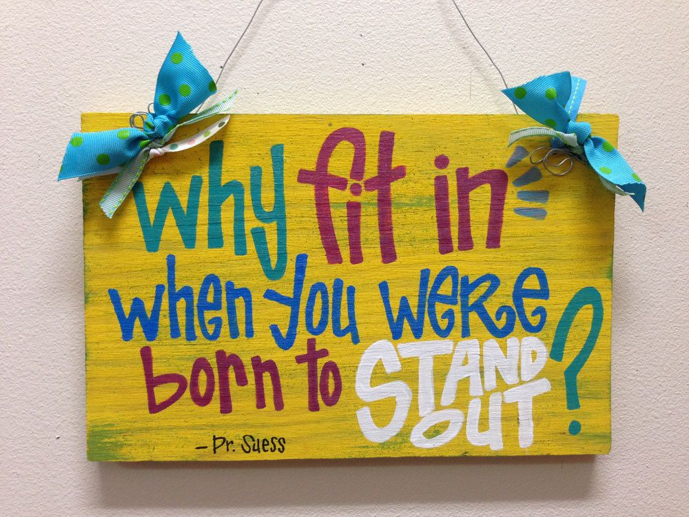 Custom Hand-Painted Dr Suess sign on 8x12 wood bright colorful baby ...