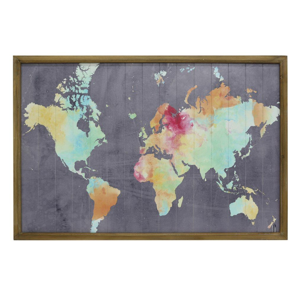 Purchase the Bright World Map Wall Décor Accent By Ashland® at Michaels.com.  What better way to spruce up … | Framed world map, World map wall decor,  World map wall