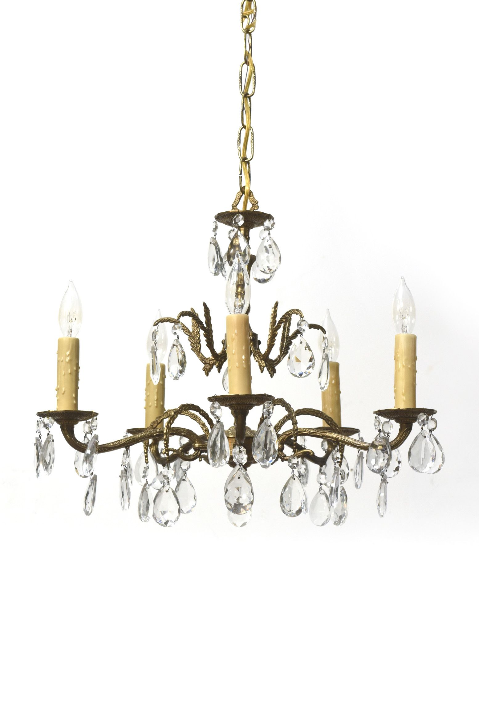 Five Light Spanish Brass And Crystal Chandelier Crystal