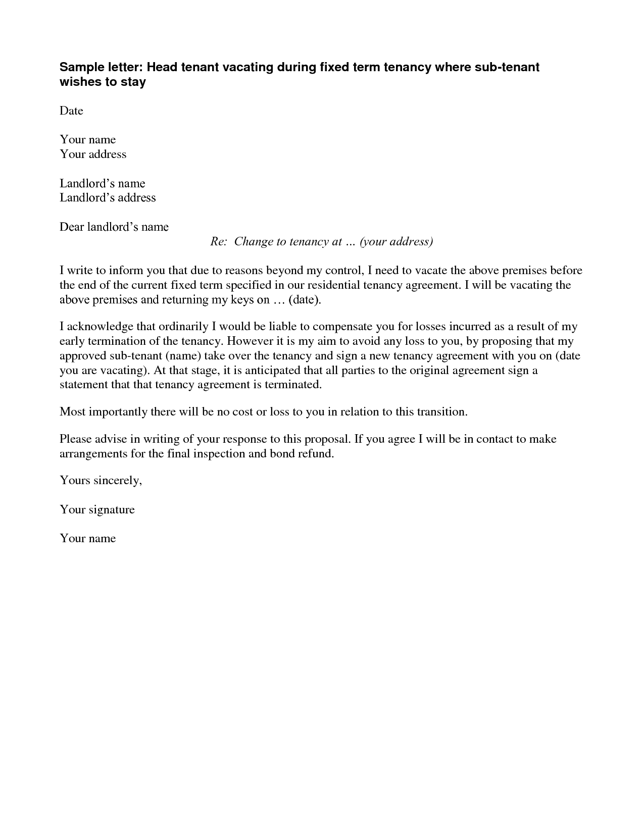 Agreement Termination Letter